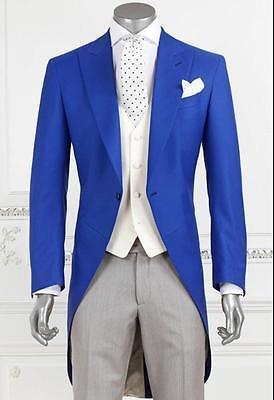 New Fashion Royal Blue Groom Long Tailcoat Tuxedo Best Man Wedding Suits