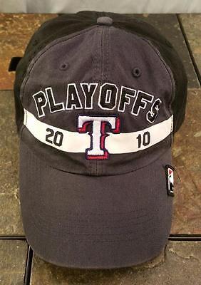 Texas Rangers Mlb 2010 Playoffs Postseason Gray Adjustable Baseball Hat   Cap
