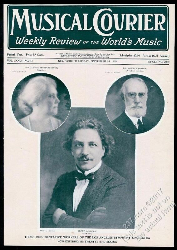 1919 Los Angeles Symphony Adolf Tandler photo Musical Courier framing cover
