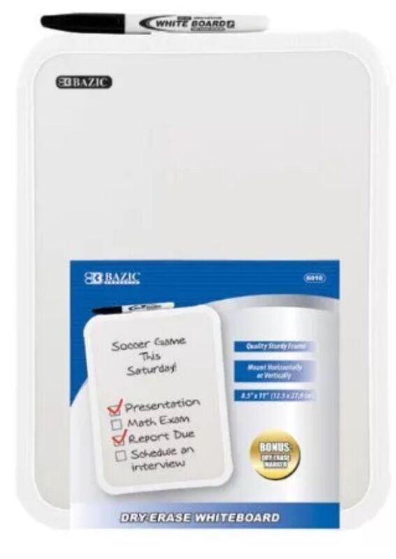 "BAZIC 8.5 X 11"" Small Dry Erase White Board With Marker Note Study Class Student"