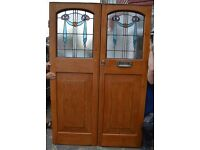 Pair leaded light external (or inside porch) front doors with keys. R240. NATIONWIDE DELIVERY!!!