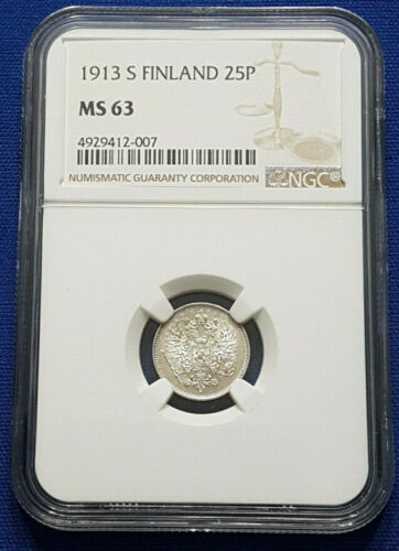 1913-S Finland under Russia Silver 25 Pennia NGC MS63 - A17