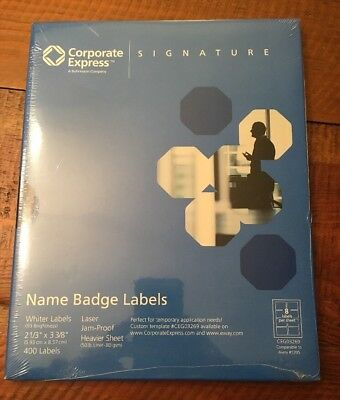 Corporate Return Address Label - Corporate Express Adhesive Name Badges Labels 400 Badges, 50 sheet, 8 per sheet