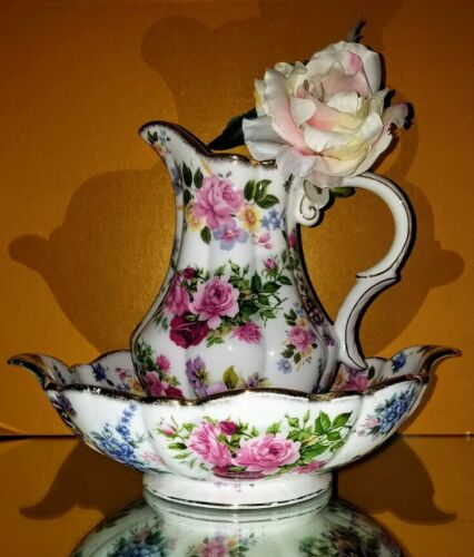 Pitcher Bowl  Wash Basin Set Roses  Pattern By Ornamental Collectibles