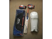 Brand new Youth Cricket set, bat ,gloves, leg pads and bag