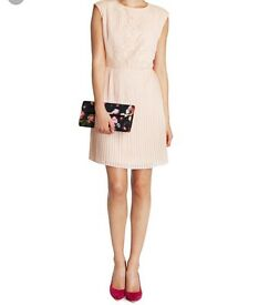 TED BAKER PINK LACE DRESS, SIZE 12