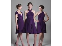 NEW 2 Purple Multiway Bridesmaid Dresses Knee Length (Small & Large)