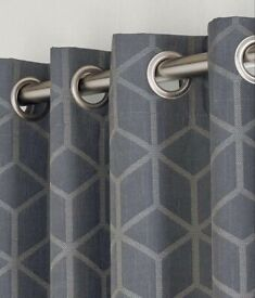 Grey geometric curtains from Dunelm as new