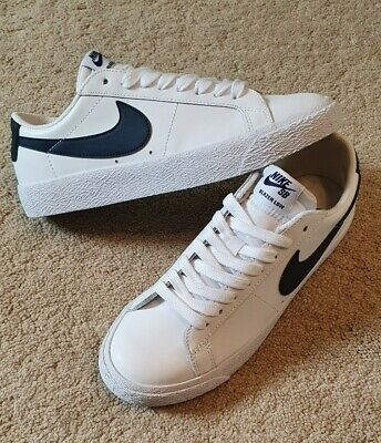 NIKE SB ZOOM BLAZER LOW WHITE LEATHER UPPER BLUE SWOOSH UK 6 US 7 EU 40
