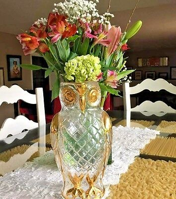 MID CENTURY Modern Owl Jar Famosa LPW Vienna Austria Clear Glass and Gold Trim