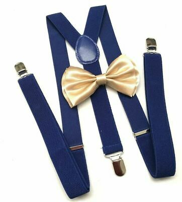 New Champagne Gold Bow Tie and Blue Suspender set Tuxedo Formal Men  USA SELLER - Gold Suspenders And Bowtie