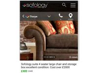 Sofology 4 seater sofa and large chair
