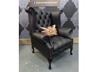 NEW Chesterfield Queen Anne Wing Back Chair in Black Leather - Delivery