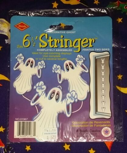 Fun Rare NIP Beistle Halloween Ghost Stringer Die Cut Decoration 1998 6.5 ft