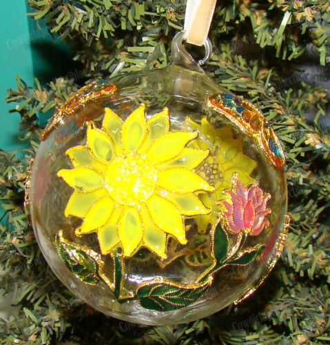 Sunflower, Butterfly Cloisonne (1300F) Hand-Painted Enameled Glass Ball Ornament