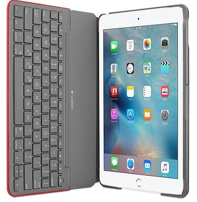 Logitech Canvas Wireless Bluetooth Keyboard Hard Folio Case for iPad Air 2 -Red