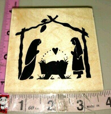 Manger scene silhouette,60,wood,rubber stamp
