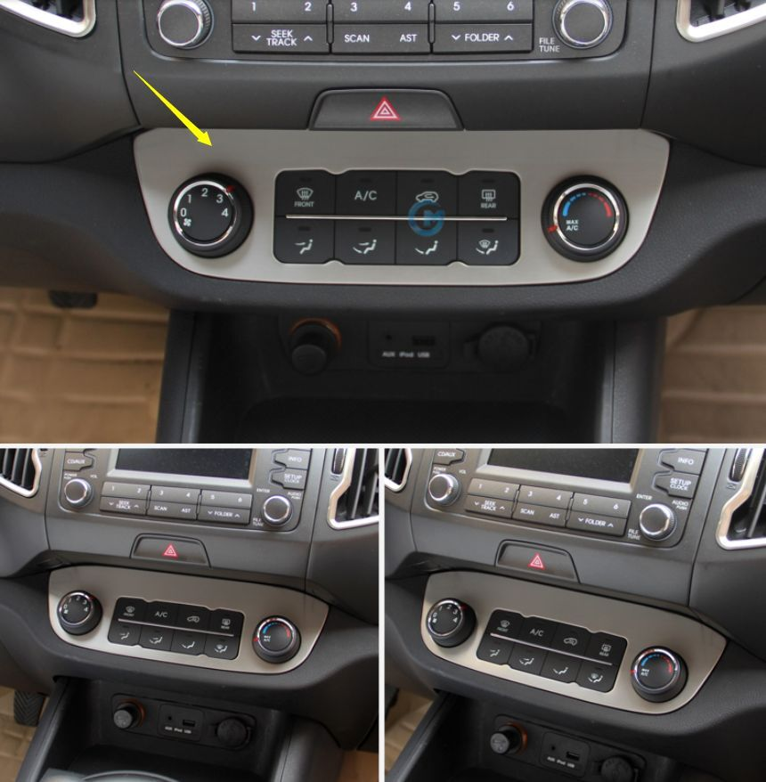 Stainless Indoor Middle Console Frame Cover Trim Fit For Kia Sportage 2011-2015