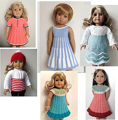 """18"""" DOLL clothes hand knitting pattern sweater dress coat hat for AG or similar"""