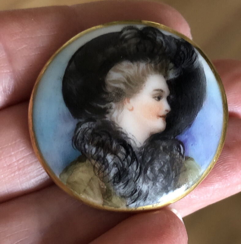 Antique Porcelain Button Transfer Hand Painted Gilt Beautiful Lady Self Shank