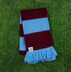 Aston Villa Colours Retro Bar Scarf - Burgundy & Blue - Made in UK