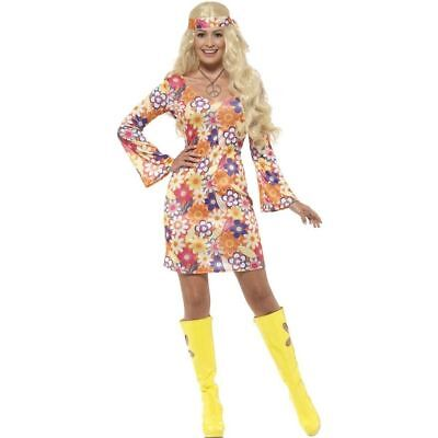 ADULT WOMENS 60'S 70'S SWINGING RETRO DISCO GO GO GROOVY FLOWER HIPPIE COSTUME - Groovy Hippie Costume