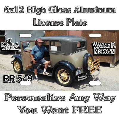 Picture ANY PHOTO Model A C Sign Custom Monogram License Plate Auto Car Tag Pers