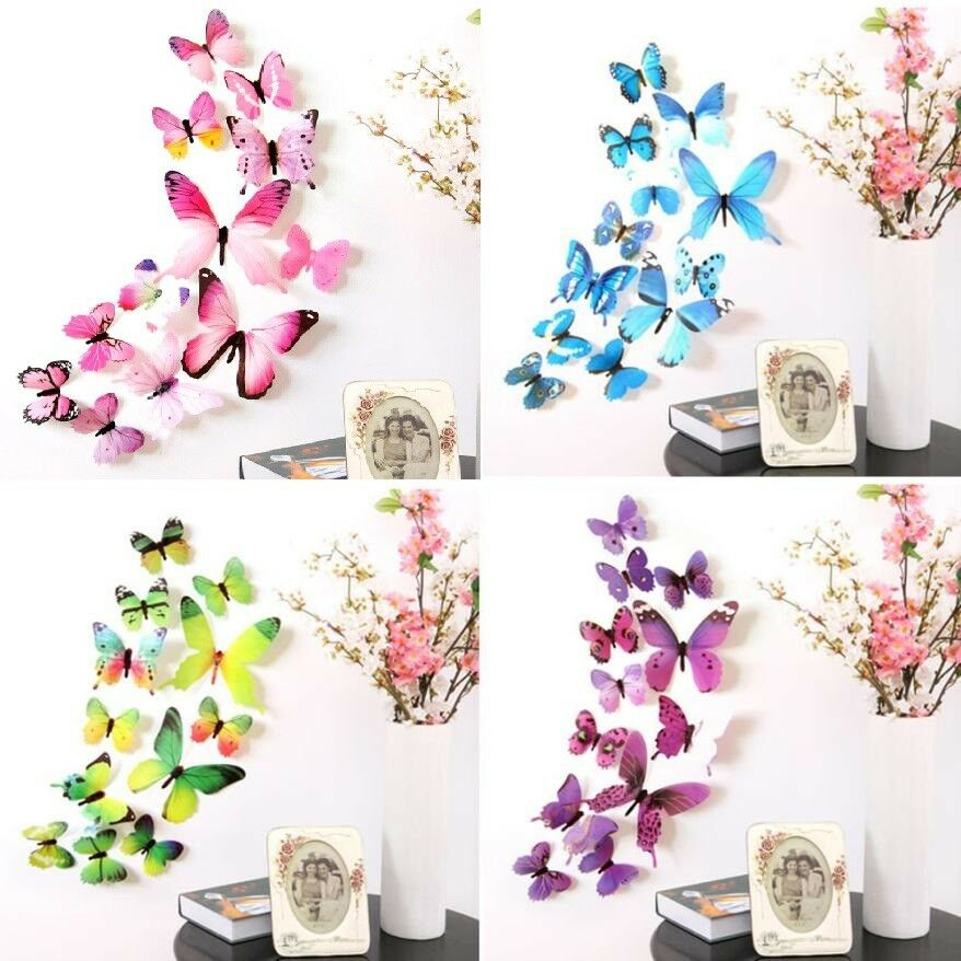 Home Decoration - 12 x 3D Decal Colourful Butterflies Wall Stickers Home Decor