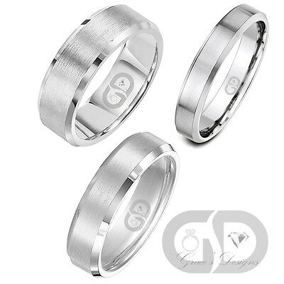 Stainless Steel Wedding Band With Matte Satin Brushed Center Beveled Edges Ring