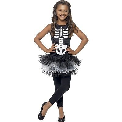 Girls Skeleton Costume Black & White Dress & Tutu Halloween Bones Child Kids NEW