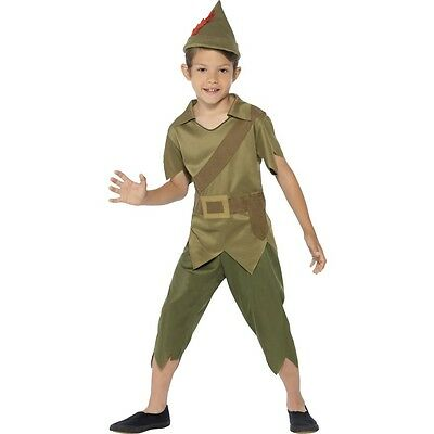 Boys Robin Hood Costume Green Robinhood Fancy Dress Halloween Outfit Kids Child