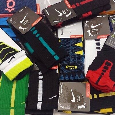 New Nike Elite Cushioned Basketball Crew Socks Size M 6-8, L 8-12, XL 12-15 RARE