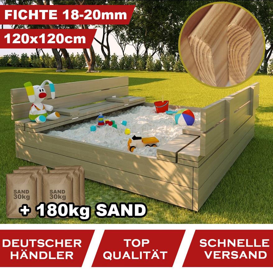 Premium Sandkasten Natur Sandbox Klappdeckel Sitzbänken 120x120 Holz