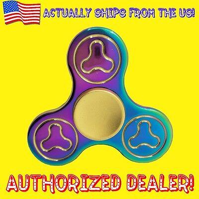Fidget Finger Spinner Rainbow Tri Torqbar Toy Gyro EDC ADHD Metal - NIB