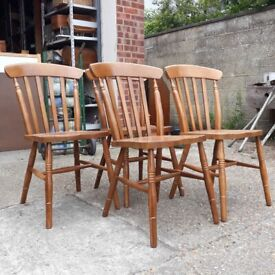 Set of Four Windsor Style Beech Farmhouse Dining Chairs