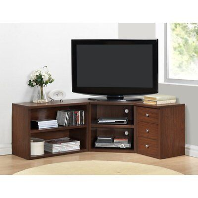 Corner TV Stand Flat Screen Entertainment Center Media Cabinet Console Wood Oak for sale  USA