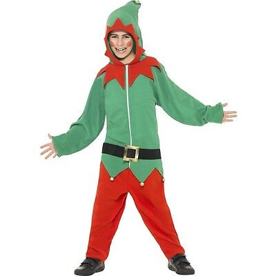 Boys Elf Costume Jumpsuit Childrens Kids Green Red Christmas Jump Suit S M L NEW