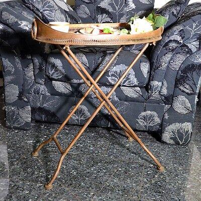 Tisch Beistelltisch Tisch Kupfer Teewagen Metall Messing Vintage Ovaler