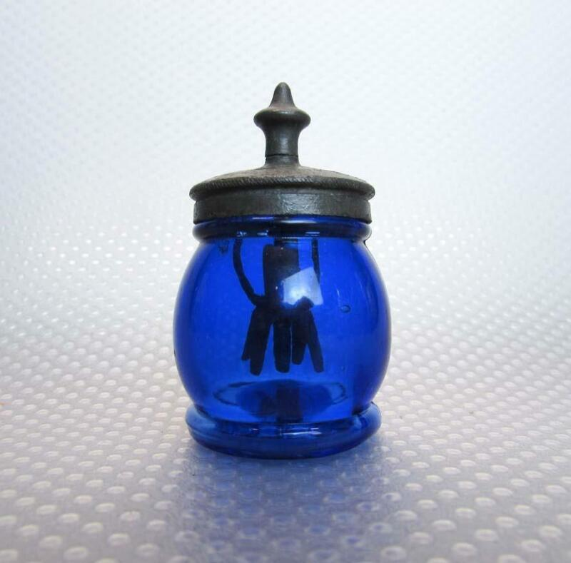 Boston & Sandwich Cobalt Blue Christmas Barrel Salt Shaker with Agitator 1880