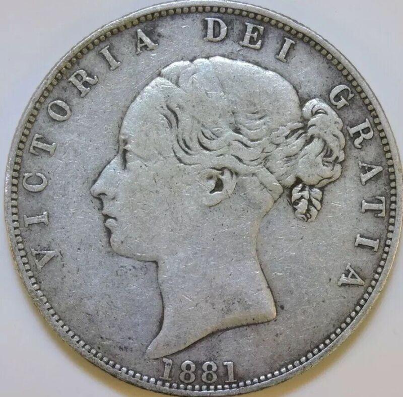 1881 Great Britain 1/2 Half Crown KM #756 Queen Victoria Foreign Silver Coin