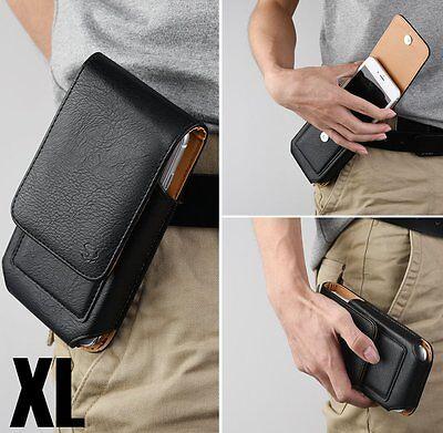 - for XL Motorola Phones - BLACK VERTICAL Leather Pouch Holder Belt Clip Card Case