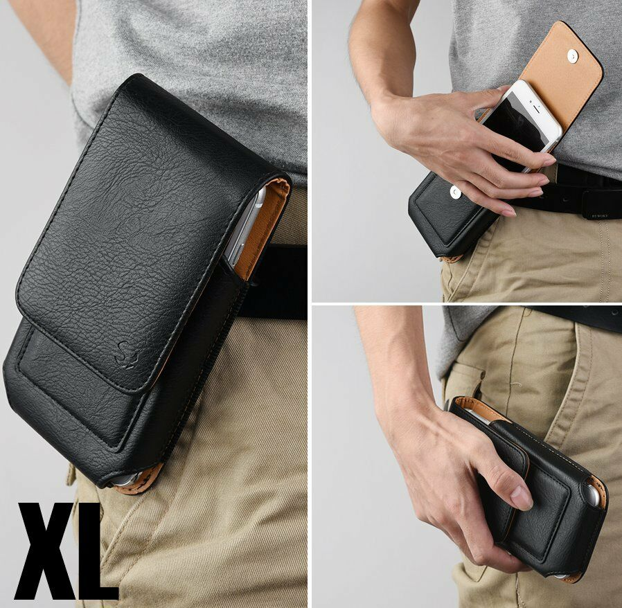 for XL Phones - BLACK VERTICAL Leather Pouch Holder Belt Clip Card Holder Case
