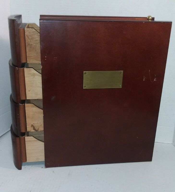 Book Shaped Cigar Humidor Wood Cedar Drawers Brass Plate Unique Man Cave Gift