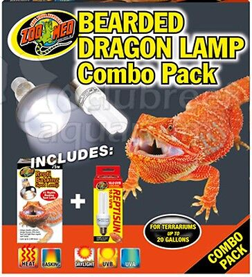 Bearded Dragon 10UVB UVA Dual & 75W Heat Basking Lamp Combo Pack Zoo Med