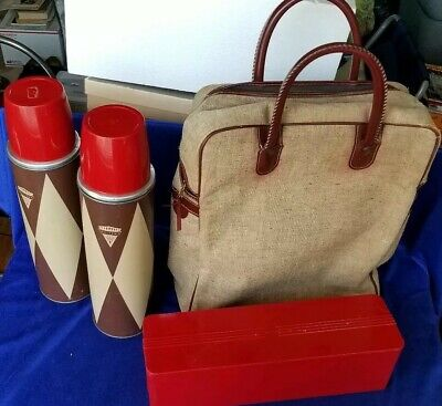 SET of 2 Vintage 1950s Holtemp Thermos Retro Diamond w Red Lunch box & Soft Case