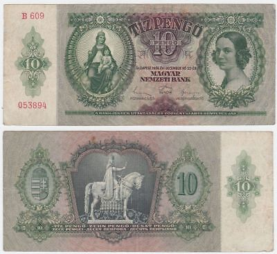 Hungary P 100 - 10 Pengo 1936 - VF for sale  Shipping to Canada