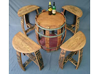 SOLID OAK BARREL PATIO/FURNITURE TABLE AND STOOL SET