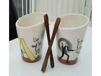 Pair of Chip Holders & Wooden Forks