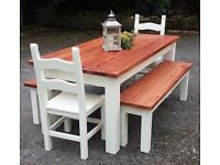 PINE SOLID 5FT FARMHOUSE TABLE TWO BENCHES AND CHAIRS CAN DELIVER
