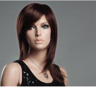 Parrucca da donna capelli medi nero castano biondo naturale lisci con frangia